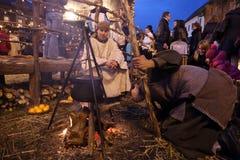 Live Nativity Scene in Zagreb Stock Photo