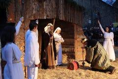 Live Nativity Scene in Zagreb Stock Photos