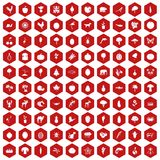 100 live nature icons hexagon red. 100 live nature icons set in red hexagon isolated vector illustration Stock Photos