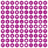 100 live nature icons hexagon violet. 100 live nature icons set in violet hexagon isolated vector illustration Stock Image