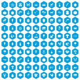 100 live nature icons set blue. 100 live nature icons set in blue hexagon isolated vector illustration royalty free illustration