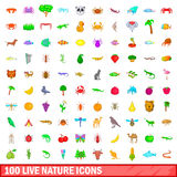 100 live nature icons set, cartoon style. 100 live nature icons set in cartoon style for any design vector illustration Royalty Free Stock Images