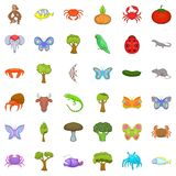 Live nature icons set, cartoon style. Live nature icons set. Cartoon style of 36 live nature vector icons for web isolated on white background Royalty Free Stock Image