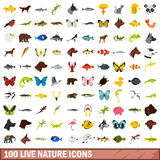 100 live nature icons set, flat style. 100 live nature icons set in flat style for any design vector illustration Royalty Free Stock Photos