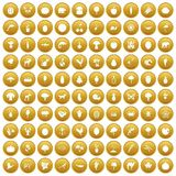 100 live nature icons set gold. 100 live nature icons set in gold circle isolated on white vector illustration Stock Photos