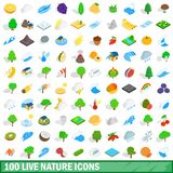 100 live nature icons set, isometric 3d style. 100 live nature icons set in isometric 3d style for any design illustration royalty free illustration