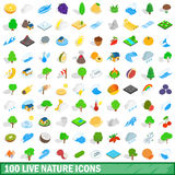 100 live nature icons set, isometric 3d style Stock Photos