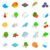 Live nature icons set, isometric style Stock Images
