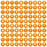 100 live nature icons set orange. 100 live nature icons set in orange circle isolated on white vector illustration vector illustration