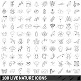 100 live nature icons set, outline style Stock Images