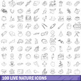 100 live nature icons set, outline style. 100 live nature icons set in outline style for any design vector illustration Stock Photos