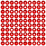 100 live nature icons set red. 100 live nature icons set in red circle isolated on white vector illustration Stock Illustration