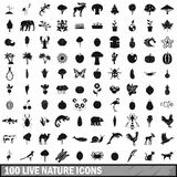 100 live nature icons set in simple style Stock Photo