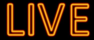 Live neon sign. Abstract 3d rendered words live orange neon sign on black background royalty free illustration
