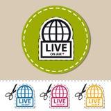 Live News On Air - etiqueta engomada colorida del vector - icono cortado con las tijeras Imagen de archivo