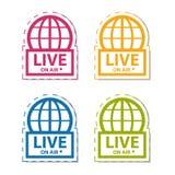 Live News On Air - icono colorido de la etiqueta engomada del vector - aislado en blanco Foto de archivo libre de regalías
