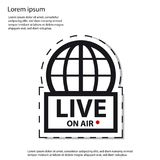 Live News On Air - icono de la etiqueta engomada del vector Fotografía de archivo libre de regalías