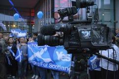 Live News Broadcast Scottish Indy-Hinweis 2014 Stockbild