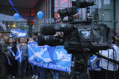 Live News Broadcast Scottish Indy Ref 2014 Stock Afbeelding