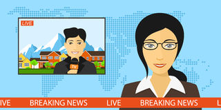 Live news broadcasting. News announcer in the studio with a reporter live on screen, breaking news and television concept with globe map background, flat style Royalty Free Stock Images