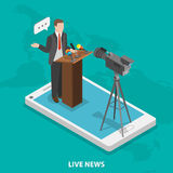 Live news flat isometric vector concept. Royalty Free Stock Photo