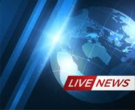News vector background. EPS10. Live News gray background with Earth globe can be used for finance or business presentations, corporate annual report. EPS10 Stock Photography
