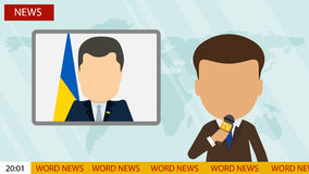 Live news presenter. Russia October, 17 2016 Live news presenter. Latest news. On air. Silhouette of anchorman with microphone. Professional journalist Stock Photo