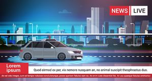 Live News Report With Car Pursuit On Road Over City Background. Vector Illustration Stock Images