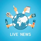 Live news vector concept in modern flat style Royalty Free Stock Images