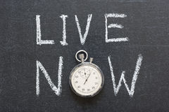 Live now. Concept handwritten on chalkboard with vintage precise stopwatch used instead of O Royalty Free Stock Images