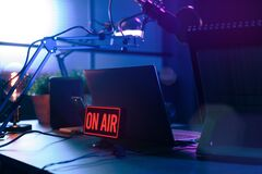 Free Live Online Radio Station With On Air Sign Royalty Free Stock Image - 177794566