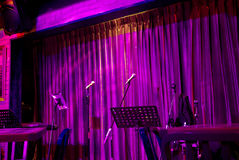 Live play stage in night pub Royalty Free Stock Image