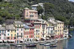 Live in Portofino. A foreshortened view of Portofino in a spring day Stock Photo