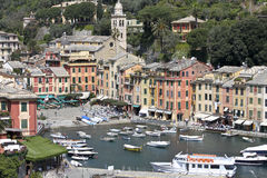 Live in Portofino. A foreshortened view of Portofino in a spring day Stock Photography