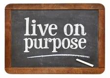 Live on purpose blackboard sign Stock Photo