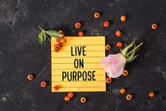 Live on purpose text in memo stock image
