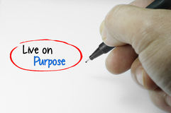 Live on Purpose Word Royalty Free Stock Photos