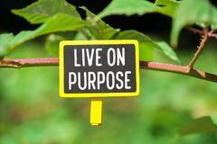 Live on purpose on board. Live on purpose written on yellow small chalkboard linked tree with clothespin on nature green background stock images