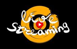 Live que fluye diseño del logotipo Botón de reproducción para las noticias y TV o difusión en línea Logotipo de las multimedias V Fotos de archivo