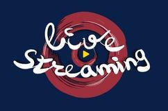 Live que fluye diseño del logotipo Botón de reproducción para las noticias y TV o difusión en línea Logotipo de las multimedias V Foto de archivo libre de regalías