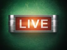 Live red glowing warning signboard. Record or broadcasting concept. Royalty Free Stock Image
