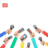 Live report concept, live news, hot news, news. Report, hands of journalists with microphones and digital recorders vector Royalty Free Stock Photos