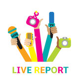Live report concept. Live news - set of hands holding microphones and voice recorders Stock Photo