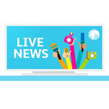 Live report concept,. Live news - set of hands holding microphones and voice recorders Stock Images