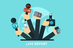 Live report concept. Vector live report concept,  live news, hands of journalists with microphones and tape recorders Stock Photography