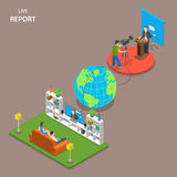 Live report isometric flat vector concept. Royalty Free Stock Photo