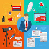 Live report or live news. Journalism vector concept Stock Photography