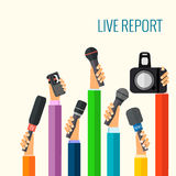 Live report. Vector live report concept, live news, hands of journalists with microphones and tape recorders Royalty Free Stock Photos