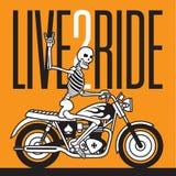 Live 2 Ride Skeleton Biker  design Royalty Free Stock Image