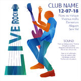 Live rock announcement. Vector illustration of Вman playing guitar on live rock show announcement royalty free illustration